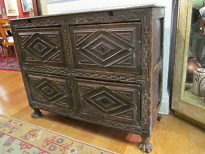 WALNUT CABINET LATE 17TH CENTURY JACOBEAN - WILLIAM AND MARY STYLE W/CLAW FEET