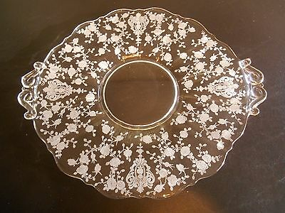 Cambridge clear glass handled Rose Point etched plate