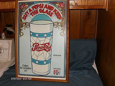 PEPSI COLA:Heavy Paper Framed Sign From The 1970's--Promotional Glasses