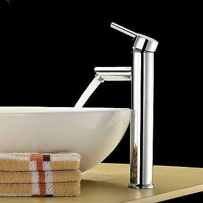 Silver Solid Brass Bathroom Single Handle Basin Faucet Vessel Sink Mixer Tap G