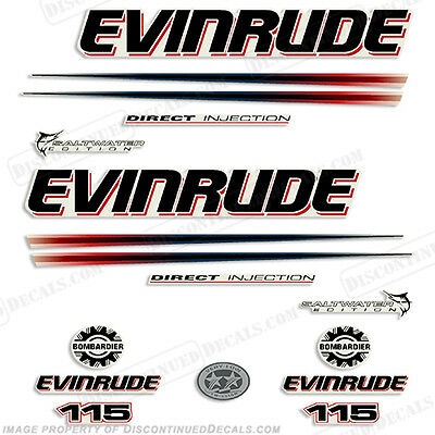 Evinrude 115hp Bombardier Outboard Decal Kit - 2002-2006 Engine Stickers
