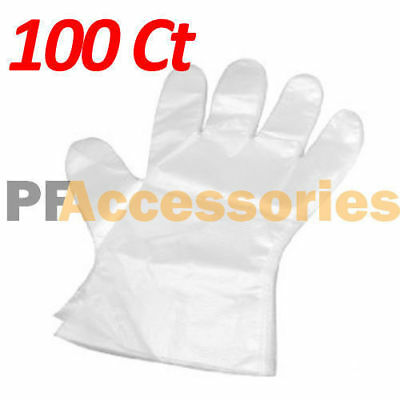 100 Pcs Transparent Disposable Plastic Glove Food Restaurant Home BBQ Kitchen