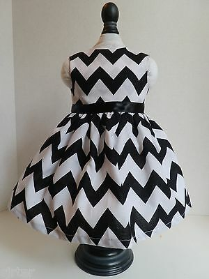 "Doll Clothes Dress Fits 18"" American Girl  - Black and White Chevron"