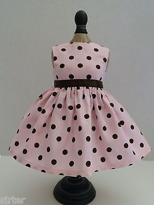 "Doll Dress Fits 18"" American Girl  - Pink with Brown Polka Dots"