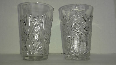 Pressed Cut Clear Glass Style Glasses Drink Barware TUMBLERS Set of 2 Vintage