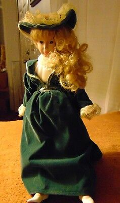 """Porcelain 16"""" Collector Doll  With Stand ANCO Green Velvet"""