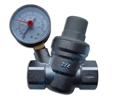 "Water Pressure Reducing Valve 1/2"" 3/4"" Female for 15mm & 22mm Pipe with Gauge"