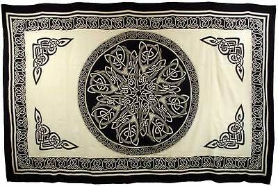 """Celtic White & Black Tapestry Blanket 72 x 108"""" Wiccan Pagan Altar Supply"""