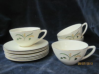 Vintage 1950's Edwin Knowles China Cups and Saucers Forsythia