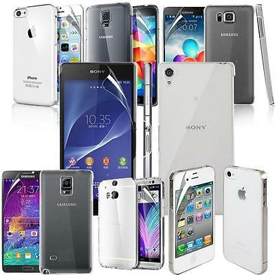 Crystal Clear Hard Back Case Cover For Various Phones & Screen Protector