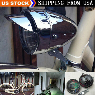 180LM Chrome Vintage Retro Bicycle Headlight Bike LED Front Head Light Fog Lamp