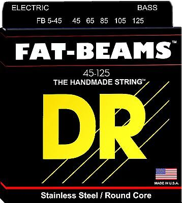 DR FB5-45 FAT BEAMS STAINLESS STEEL BASS STRINGS,  MEDIUM GAUGE 5's, 45-125