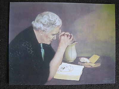 """""""Gratitude"""" picture of woman praying over bible/meal 10""""x13"""" very traditional"""