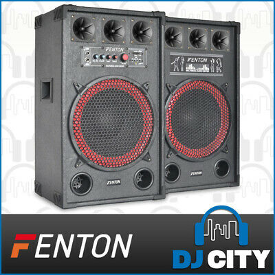 SPB-12 Fenton Active Speaker Set powered 12 Inch set w/ MP3 Media Player 2x 400W