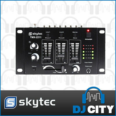 Skytec 3-Channel DJ Mixer with Crossfader, Voice Over and Microphone Inputs -...