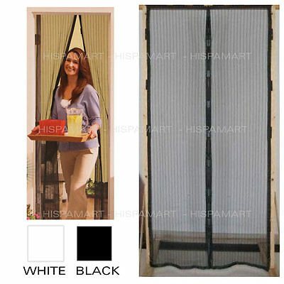 Screen Door Magnetic Closure Dual Panels Hand Free Bugs Out Black or White