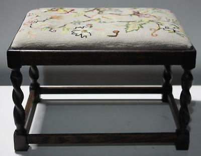 Vintage Oak Floral Tapestry Stool Footstool with Mahogany Barley Twist Legs