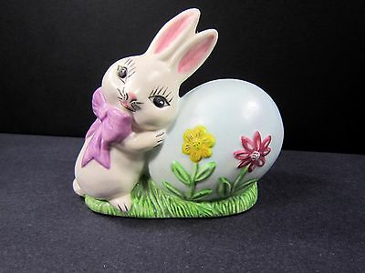 "Vintage 80s Bunny Rabbit Egg Figurine Easter 4"" Handmade USA Hand Painted"