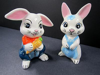 "Vintage 80s Bunny Rabbit Figurines Easter 4"" Handmade USA Hand Painted Lot of 2"