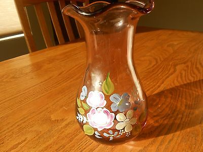 Hand Blown Amethyst Fenton Vase with Hand Painted Flowers Made For Teleflora