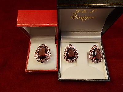 #9, Nos Old Inventory Mint Cond Sterling Silver Mauve/pink Earrings Ring Set
