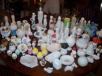 100 + VINTAGE AVON COLLECTION 60's -80's MILK GLASS 70 lbs