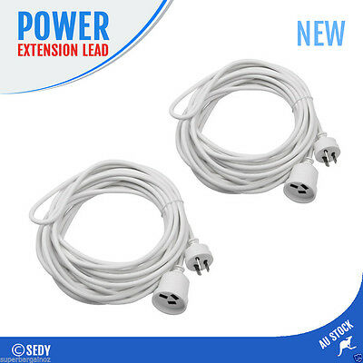 2x 3M Power Extension Cord Cable Lead AU 3-Pin Plug White Electrical Connector