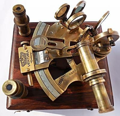 Vintage Style 2 Lenses German Brass Sextant with Patina Antique.