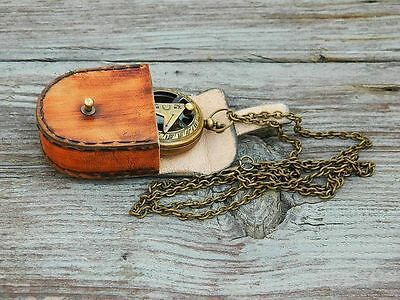 Working Compass Necklace Antiqued Brass Sundial 47mm W/Leather Case