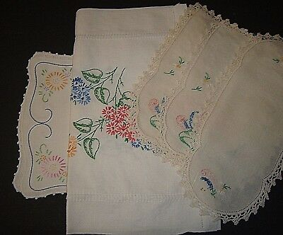 Vintage Table Runner (2) - 3 pc chair set (1) Embroidered runner