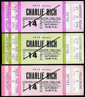 3 Super Rare Unused Charlie Rich Country Music Concert Tickets Aug 14th 1976