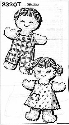 VINTAGE 1960 14 IN. TERRY TWIN DOLL AND CLOTHES PATTERN ... # 977