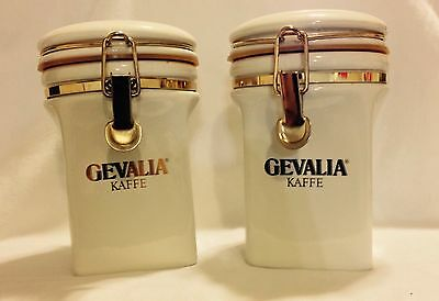 Set Of 2 Ivory Vintage Gevalia Kaffe Canister. Air Tight Seal. Made In Japan