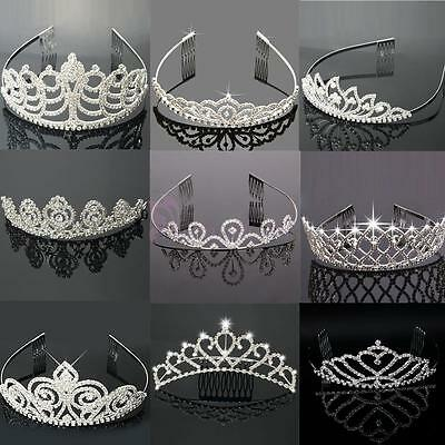 Pageant Wedding Bridal Crown Crystal Rhinestone Princess Silver Jewelry Tiara US