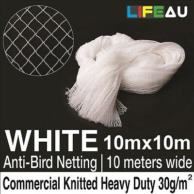 10 x 10M WHITE Knitted Anti Bird Netting Commerical Pest Net 15x15mm