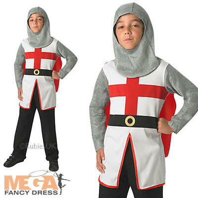 St George Knight + Cape Boys Fancy Dress Medieval Book Week Kids Costume Outfit