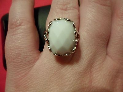 White Agate Cushion Cut Checkerboard Faceted Ring in 925 Sterling Silver-Size 8
