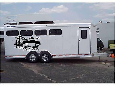 Horses & Landscape Border Horse Trailer Truck RV Camper Decal Stickers 22x40 (2)