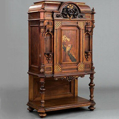 American Renaissance Carved, Parcel Gilt and Gilt-Incised Rosewood Cabinet #7777