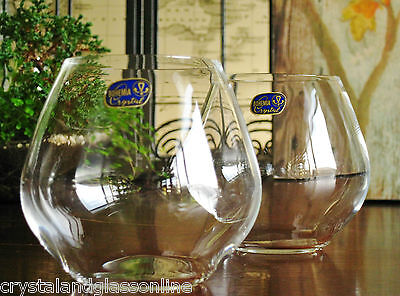 Boxed pair of contemporary Bohemia Crystal stemless wine glasses. NEW