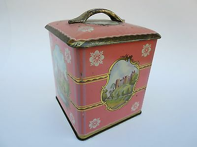 Vintage Metal Tin Canister Pink / Brass Castle Square W/ Rounded Top & Handle