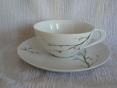 Vintage Sango Serenade Pink Buds Flowers Gray Tree Branches Tea Cup & Saucer Set