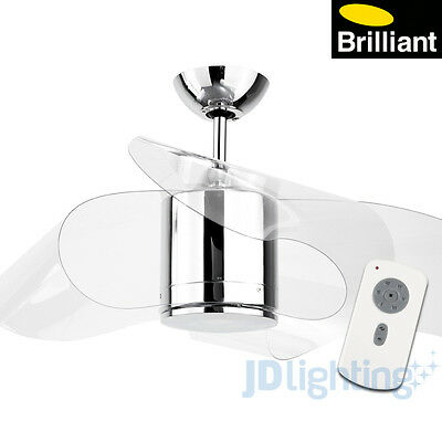 """Brilliant Whirl 44"""" Dc Ceiling Fan & Remote Control - Chrome - Clear Blades"""