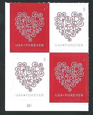 4955-6 Forever Hearts Plate Block Mint/nh FREE SHIPPING