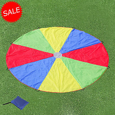 Multi-Coloured 3.5M Kids Play Parachute Handle Portable Outdoor Indoor Toy