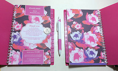 "2015 AT-A-GLANCE Passion FLORAL Weekly/Monthly Planner/COLORFUL Pages/PINK/5""x8"""
