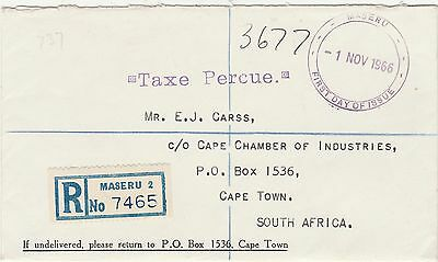 Lesotho 1966 Registered Postage Due Fdc To South Africa