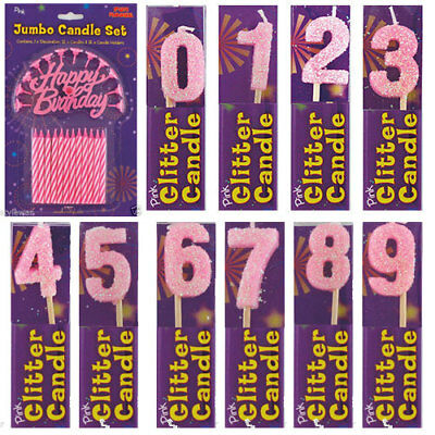 New Girls Kids Birthday Candle Party Pink Glitter Cake Candles Numbers Age 0-9
