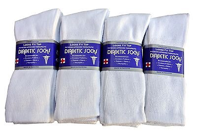 Diabetic WHITE CREW Socks circulatory Health  Men's Women's Cotton ALL SIZE