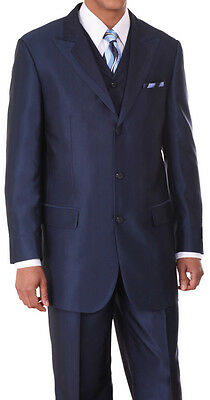 Men's Three Button Wool Feel Two Tone Fashion Suit w/ Vest 5907V Navy